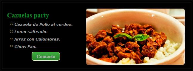 cazuela de pollo, cazuelas para eventos, sabores cazuelas party, cazuelas party a domicilio,